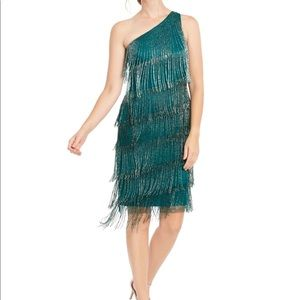 Adrianna Papell Jade Green Beaded Fringe Dress